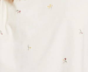 Keely Embroidered Floral Tee in Bone