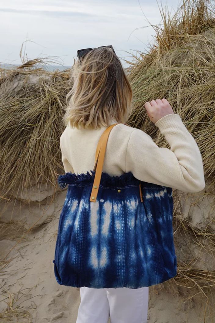 Canvas TieDye Tote with Leather Strap in Navy