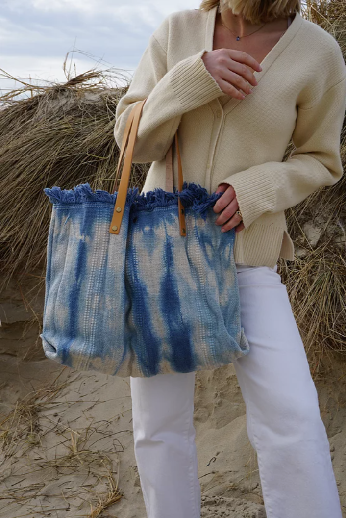 Canvas TieDye Tote with Leather Strap in Baby Blue