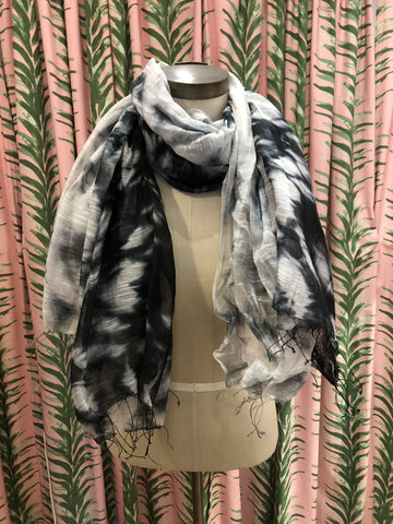 Shibori Tie Dye Silk Scarf in Black Pattern #2