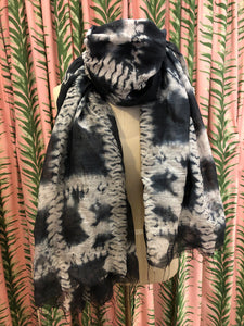 Shibori Tie Dye Silk Scarf in Black Pattern #3