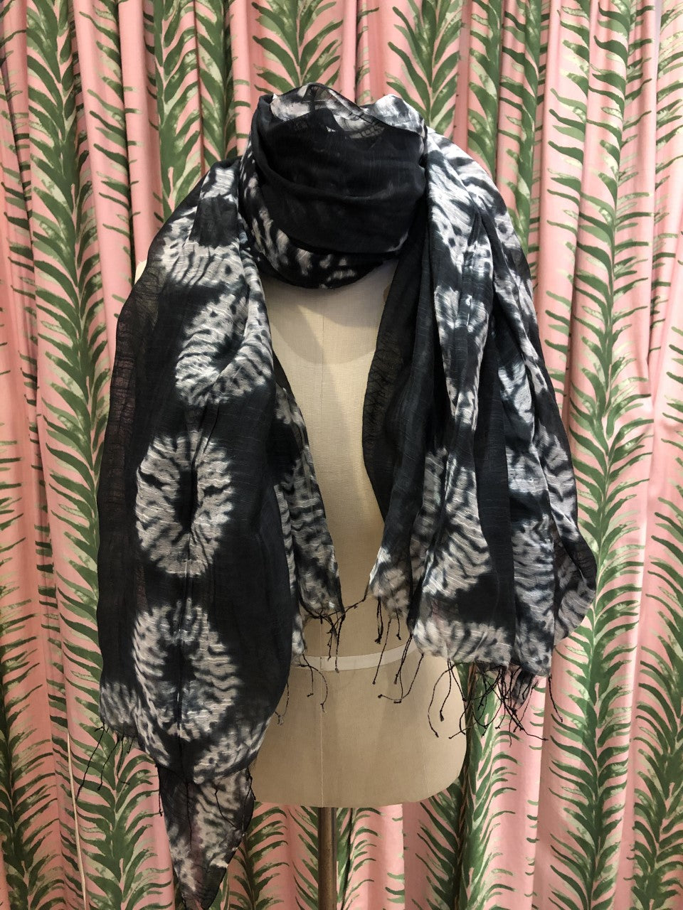 Shibori Tie Dye Silk Scarf in Black Pattern #4