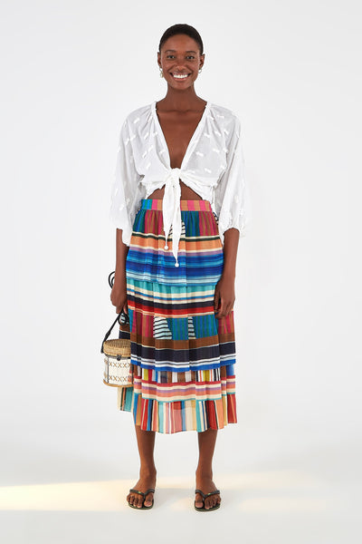 Thalita Stripe Midi Skirt