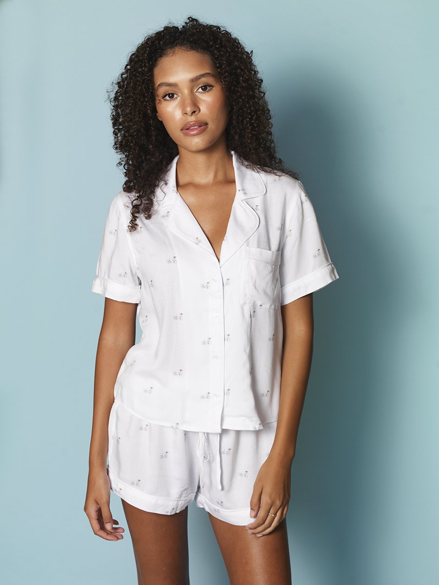 The Short Sleeve Pajama Set with Shorts in Bicycle