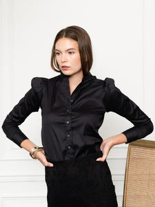 The Puffed Shoulder Shirt in Black