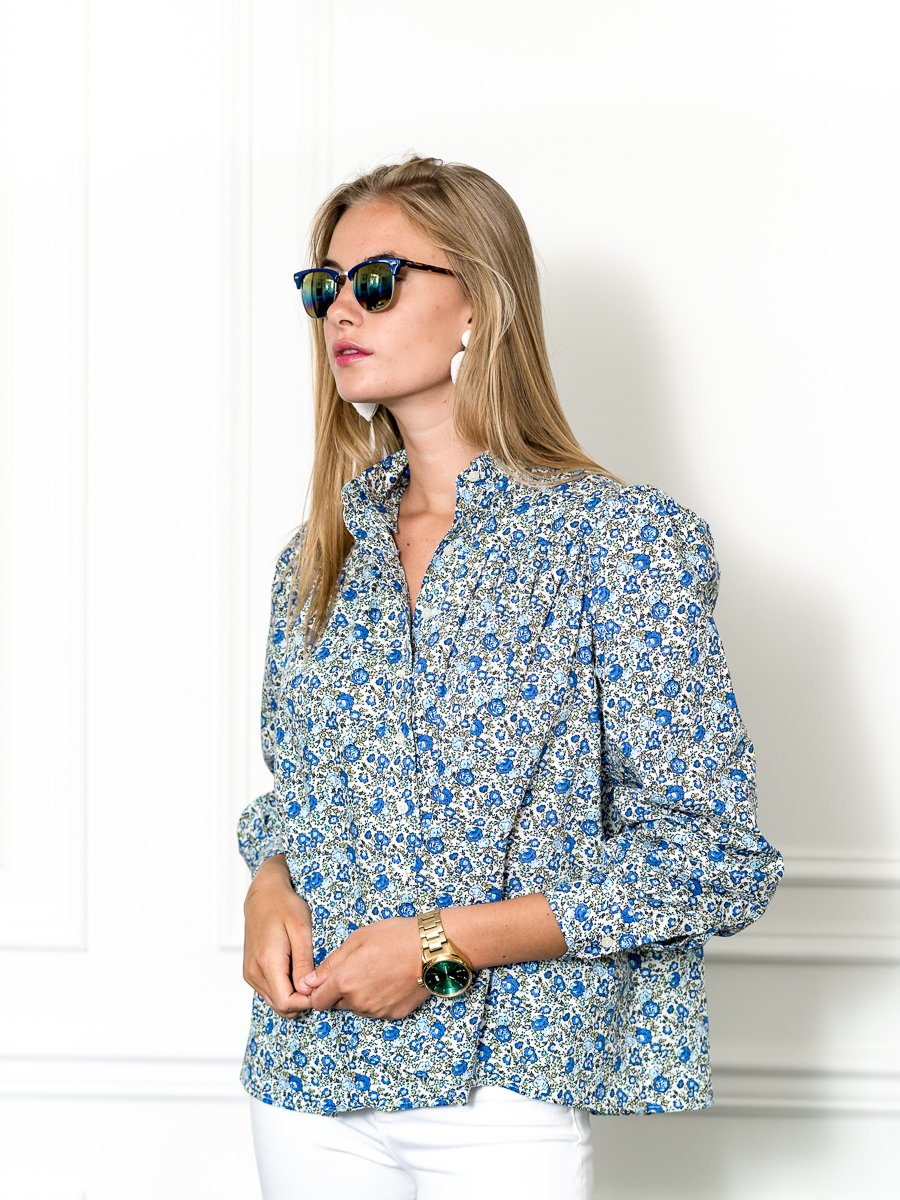 Balloon Sleeve Shirt in Blue Liberty
