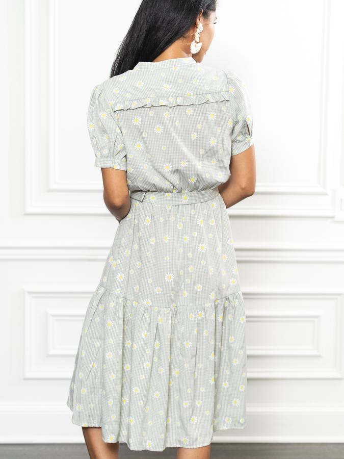 The Camelot Dress in Daisy Aqua Check