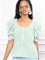 Load image into Gallery viewer, The French Girl Shirt in Green Stripe