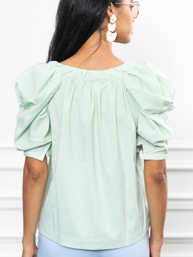The French Girl Shirt in Green Stripe