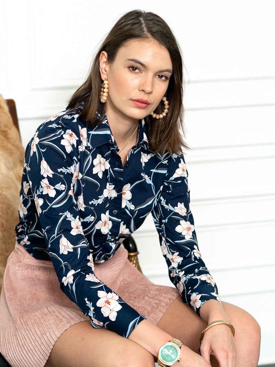 The Icon Shirt in Navy/Blush Floral