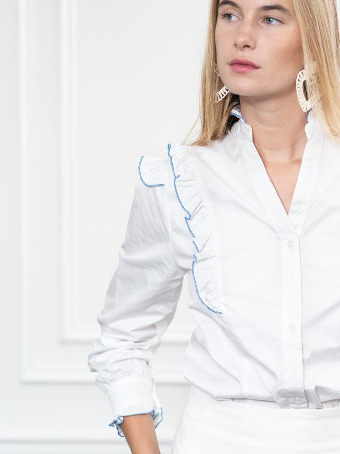 The Madeline Shirt in White/Blue