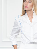 Load image into Gallery viewer, The Madeline Shirt in White/Blue