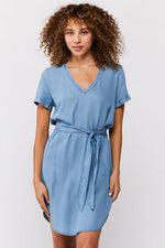 Load image into Gallery viewer, Varia V-Neck Popover Dress in Classic Indigo