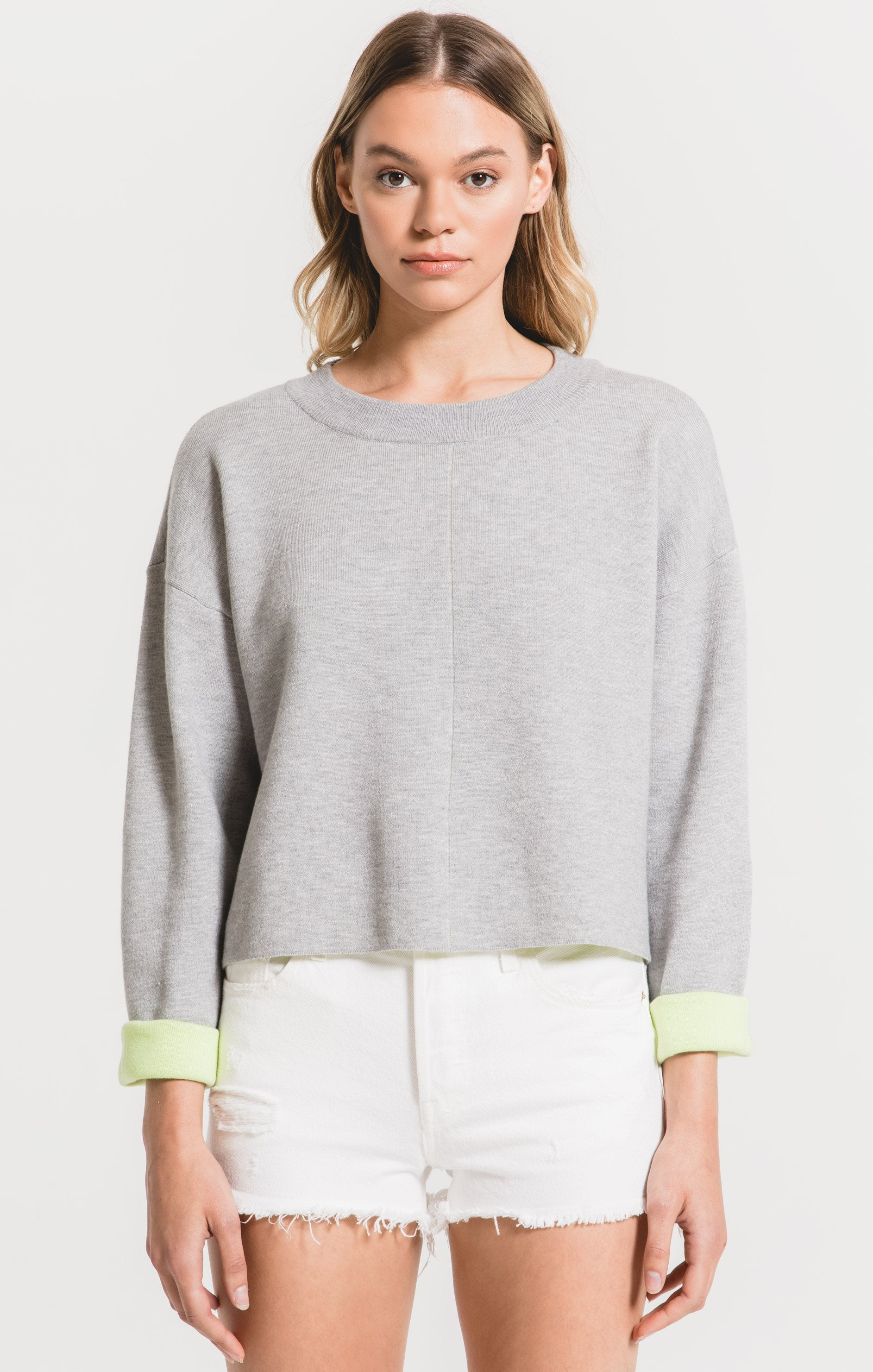 Reversible Sweater in Heather Grey/Citron