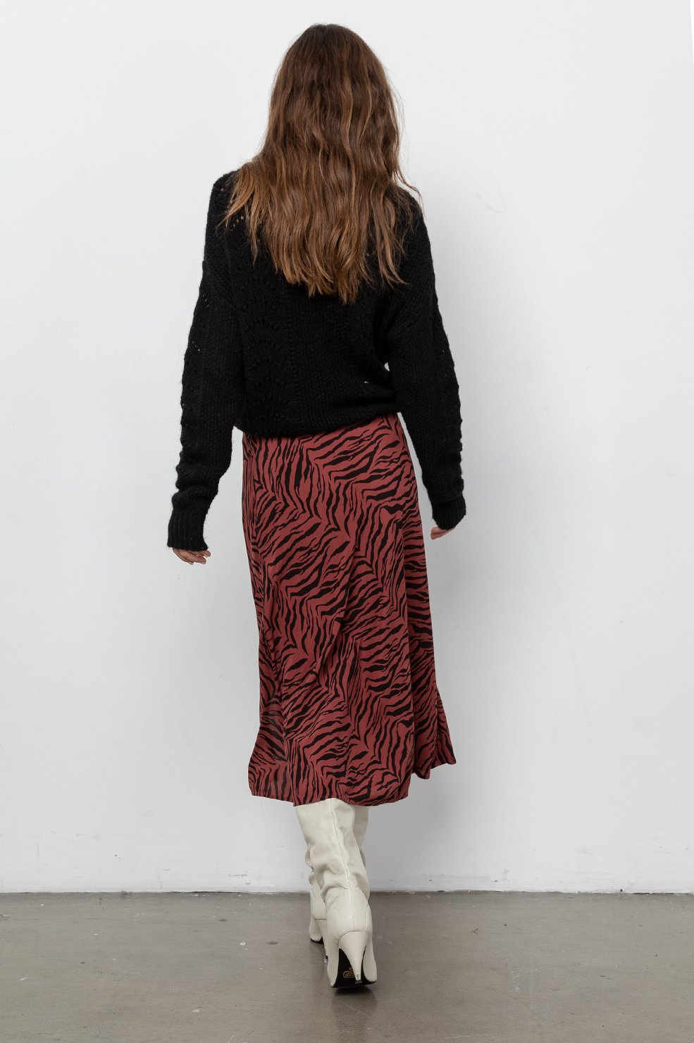 Veda Skirt in Rust Tiger Stripe
