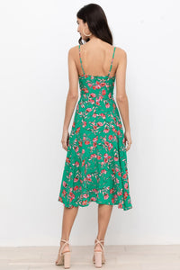 Vienna Silk Dress in Emerald Dandelion