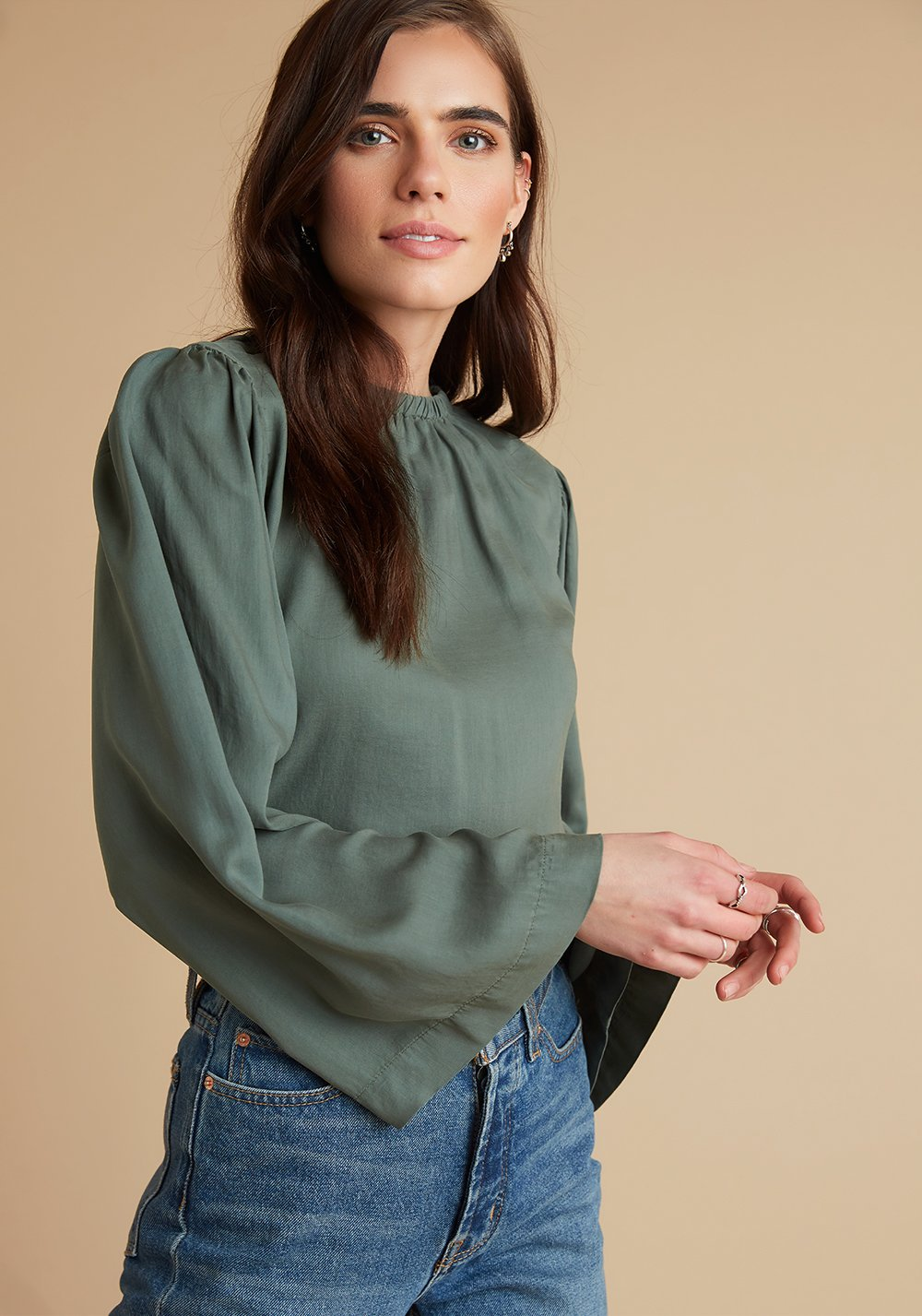 Bell Sleeve Top in Martini Green
