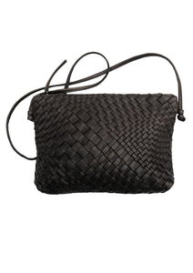 Woven Leather Crossbody Bag in Black