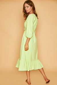 Stevie Midi Dress in Lime