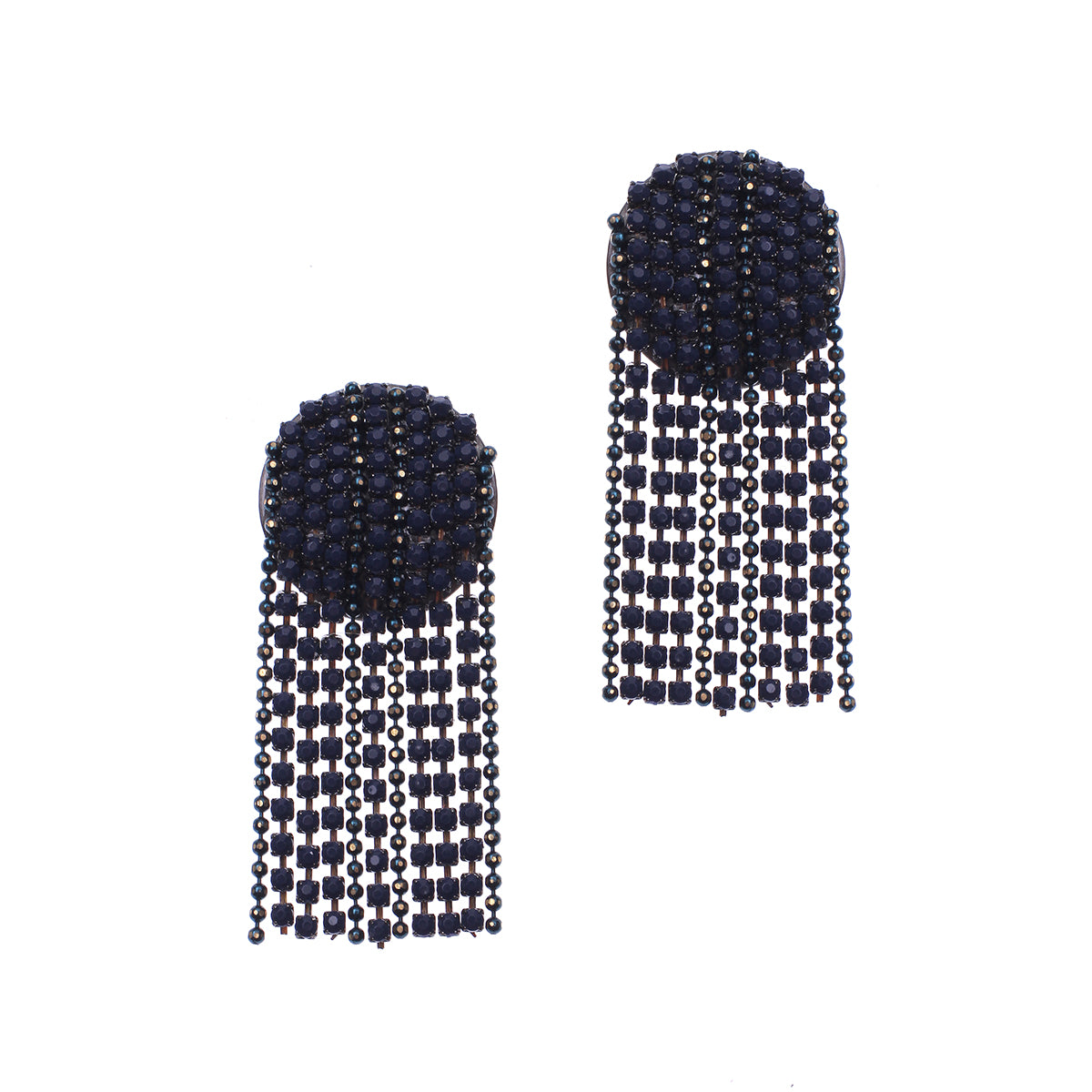 Jerica Crystal Waterfall Earring in Navy
