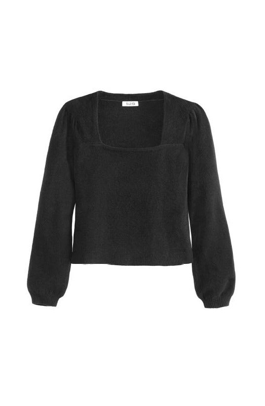 Square Neck Puff Sleeve Top in Black