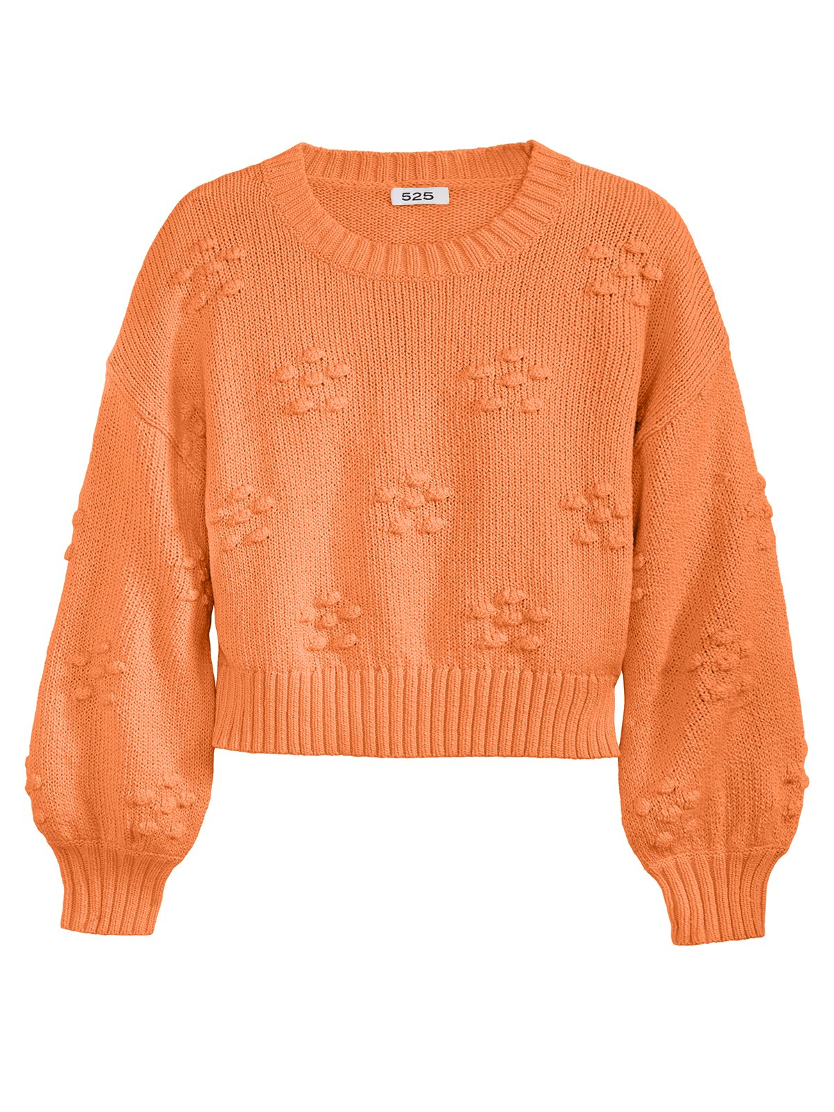 Flower Bobble Crewneck Sweater in Clementine