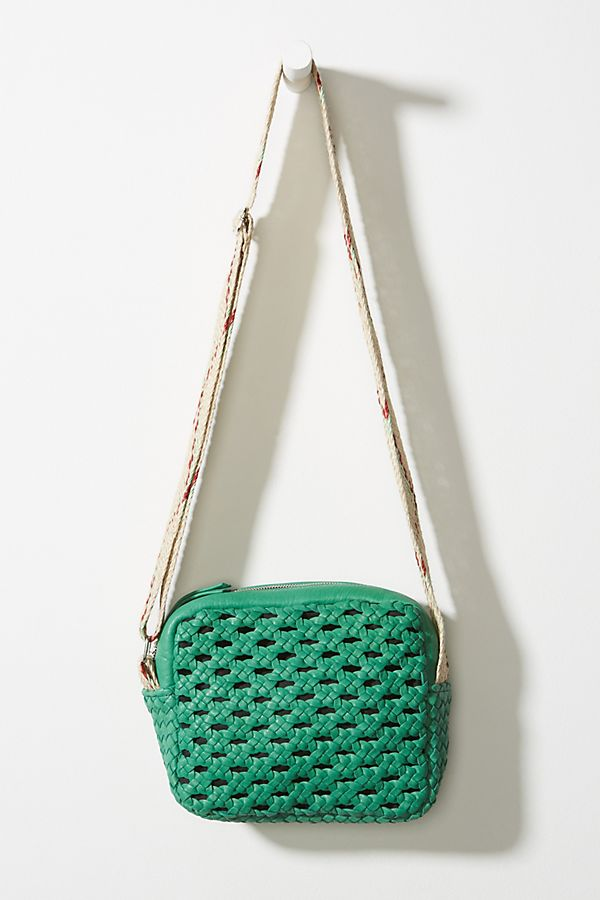 Zavata Woven Leather Crossbody Bag in Green
