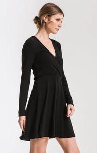 Soft Spun Surplice Dress in Black