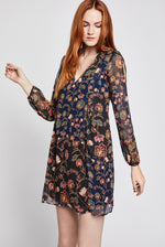 Load image into Gallery viewer, Metallic Floral Back Bow Dress in Dark Navy