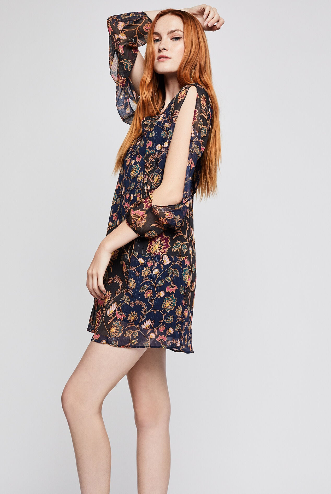 Metallic Floral Back Bow Dress in Dark Navy