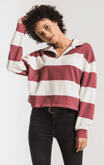 Load image into Gallery viewer, Rugby Stripe Collared Shirt in Champ/Berry