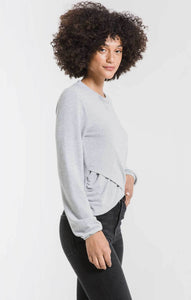 Soft Spun Ruched Long Sleeve Top in Heather Grey