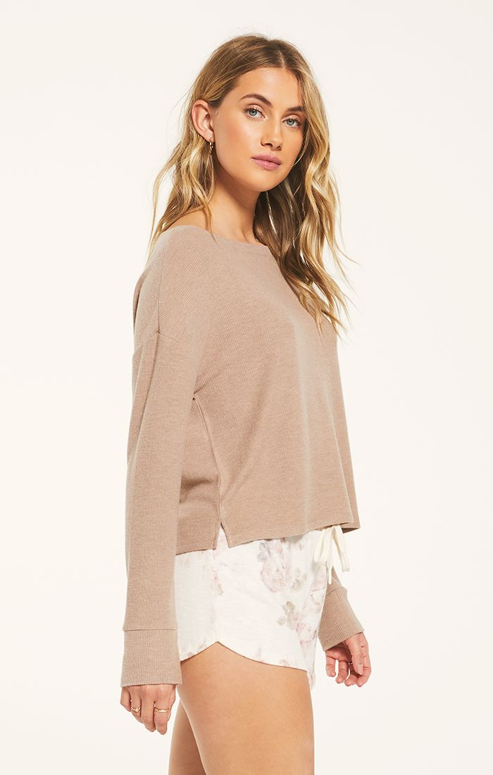 Leila Rib Long Sleeve Shirt in Cocoa