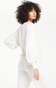 Brook Dot Longsleeve Top in Bone