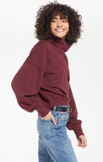 Load image into Gallery viewer, Ellis Turtleneck Pullover in Merlot