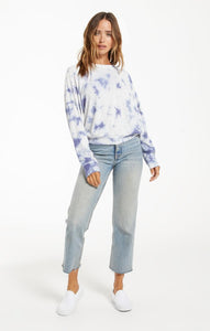 Claire Cloud Tie-Dye Top in Dusty Navy
