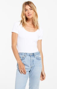 Hazel Scoop Rib Tee in White