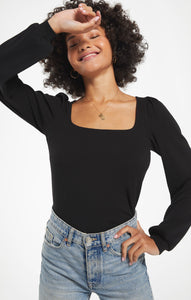Willow Rib Long Sleeve Top in Black