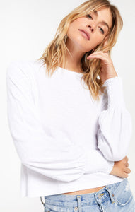 Lyla Slub Long Sleeve Top in White