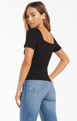 Load image into Gallery viewer, Lyla Rib Short Sleeve Top in Black