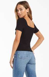 Lyla Rib Short Sleeve Top in Black
