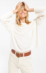 Load image into Gallery viewer, Annie Rib Long Sleeve Top in Bone