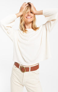 Annie Rib Long Sleeve Top in Bone