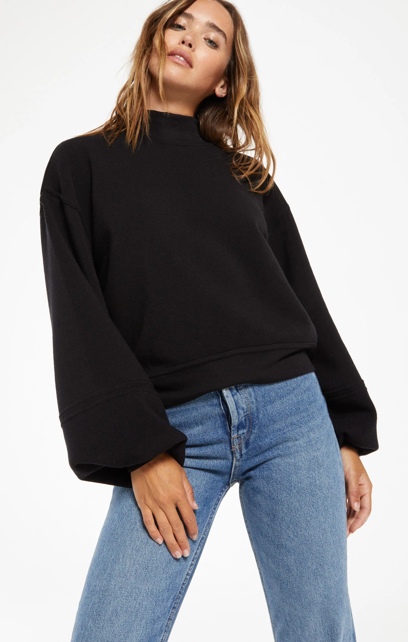 Skylar Mock Neck Pullover in Black