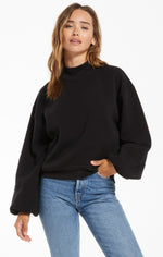 Load image into Gallery viewer, Skylar Mock Neck Pullover in Black