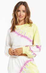 Load image into Gallery viewer, Sunburst Tie Dye Pullover in White