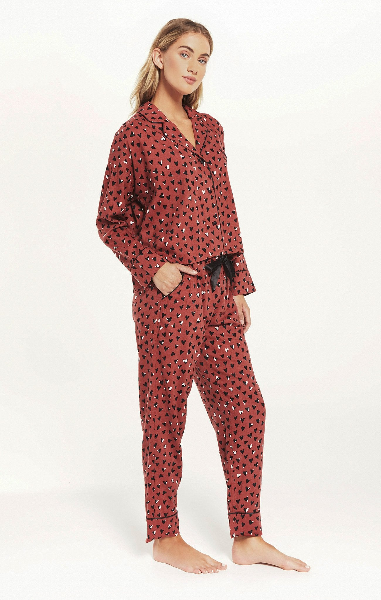 Dream State Heart PJ Set in Rosy Red