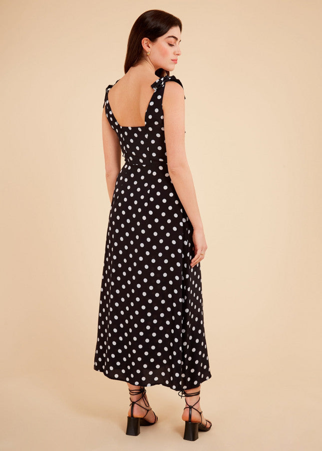 Adnise Dress in Black Polka Dot