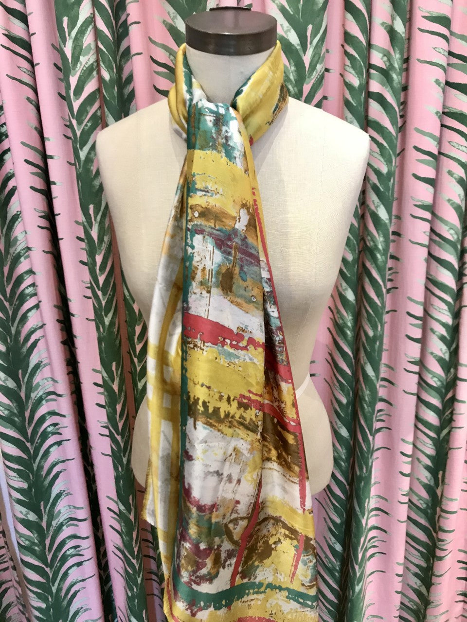 Modern Plaid Scarf in Yellow Multi