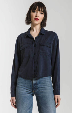 Crop Button Up Shirt Jacket in Navy